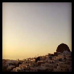 Tiny castle, town, sea, sunset #amonthingreece