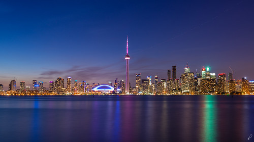 plaza city longexposure blue sunset urban lake toronto ontario canada reflection water skyline clouds cn islands nikon downtown cityscape cntower centre hour skydome billy bmo rogers scotia bishop f4 core aiport td cityplace fcp cibc rbc 1635 rogerscentre d600