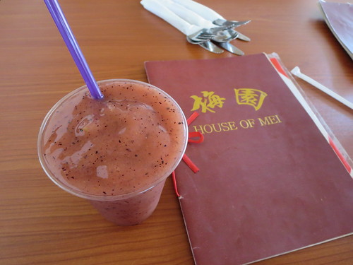 Blueberry smoothie and menu