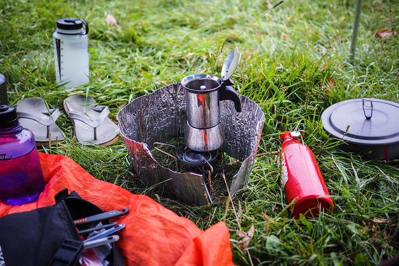 A two-cup Bialetti Stainless Steel mokapot on an MSR Whisperlite Internationalle petrol stove (Kayanuma Onsen campground, Hokkaido, Japan)