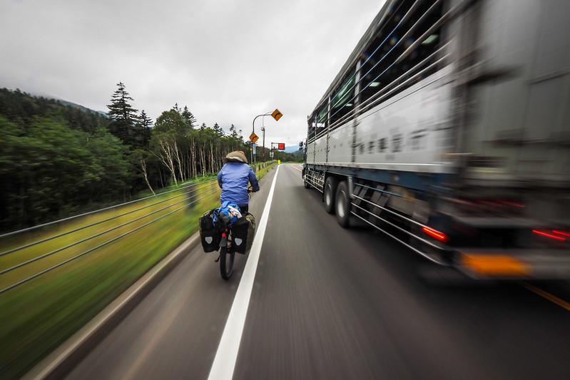 Dodging trucks on the Nissho Pass, Hokkaido, Japan