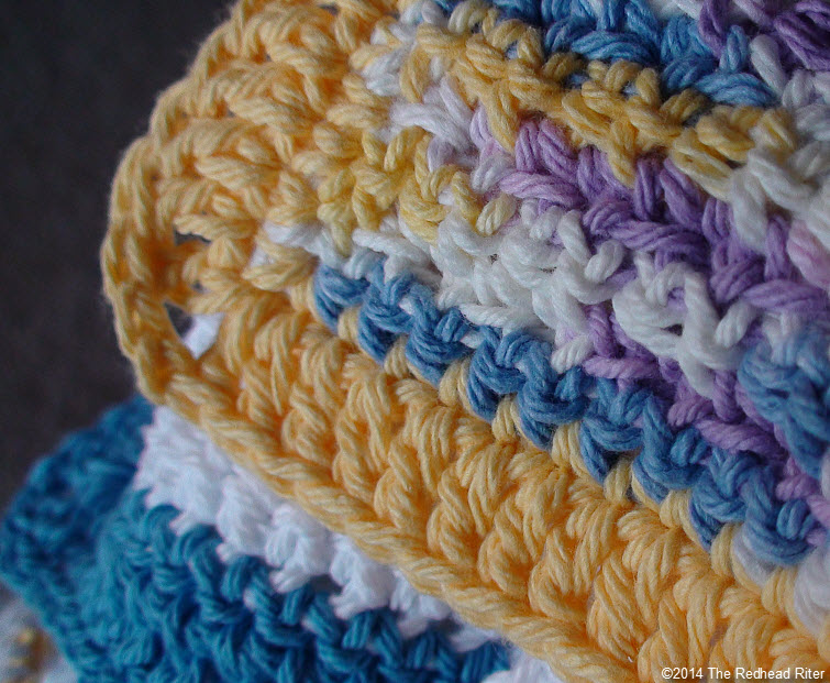 crocheted cotton facecloth  varigated close up