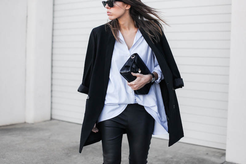modern legacy fashion blog Australia street style Theory leather leggings Hope man style shirt boyfriend blazer Celine slide sandals Proenza Schouler PS11 mini bag work wear (7 of 12)
