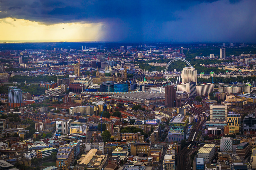 Stormy weather above London seen from the Shard