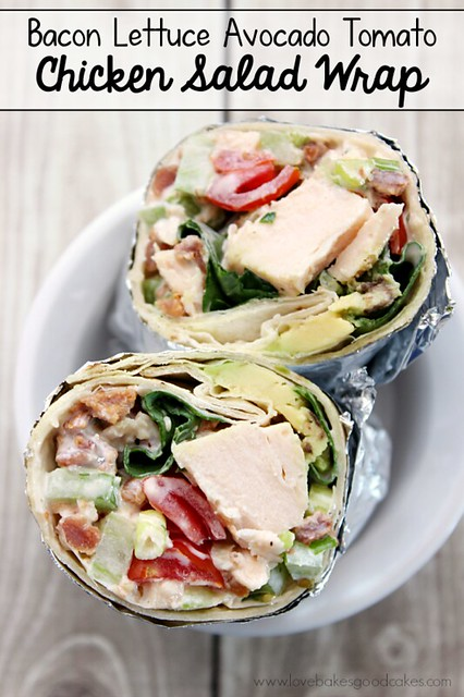 Bacon Lettuce Avocado Tomato Chicken Salad Wrap makes a quick and easy dinner or lunch idea! #wraps #chickensalad #baconmonth #putsomepiginit