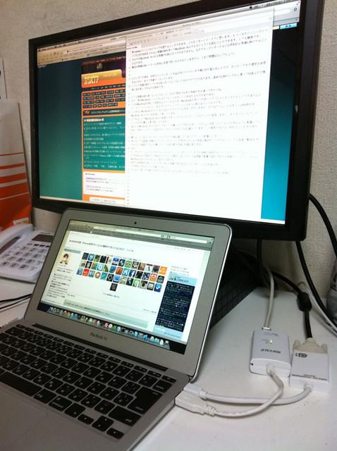 MacBook Airとデュアルモニタ