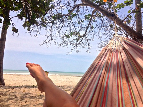 Relaxing in one of the hammocks at La Sirena
