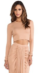torn ronny kobo crop long sleeve tee peach pink