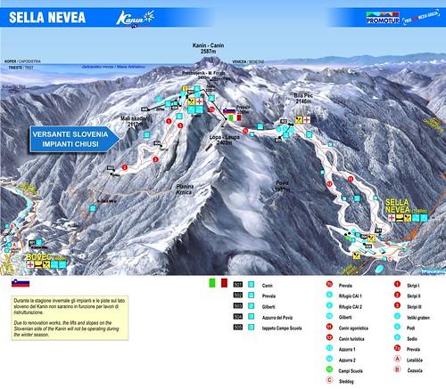 Sella Nevea / Kanin - mapa sjezdovek
