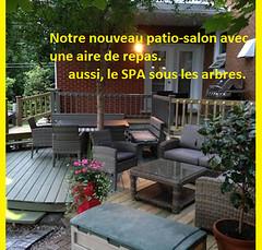 Coté jardin, patio et spa, au Champayeur.
