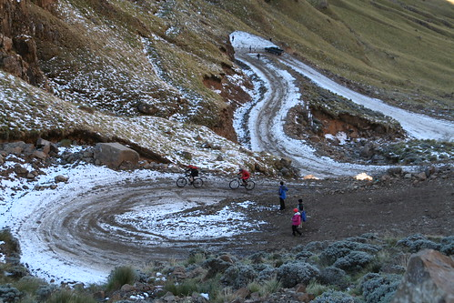 All kinds of traffic on the icy switchbacks up Sani Pass