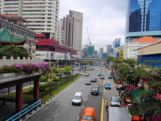 Singapore. City road over pass for pedestrians.