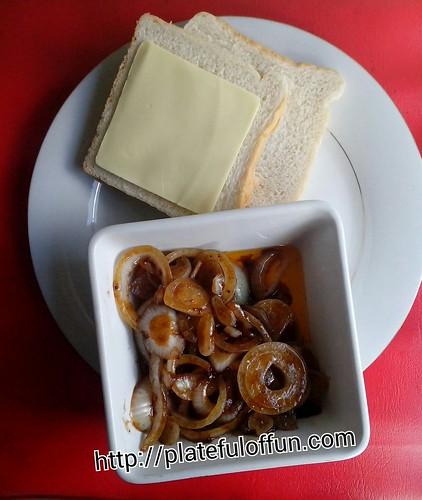 Onion and Cheese Sandwich prep
