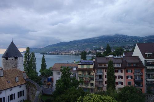 夕照下,瑞士日內瓦湖畔風光,那一刻我們唯一語言是遠邊晚霞
