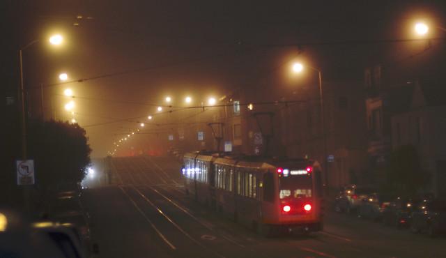 N Judah MUNI train in The Sunset, San Francisco (2014)