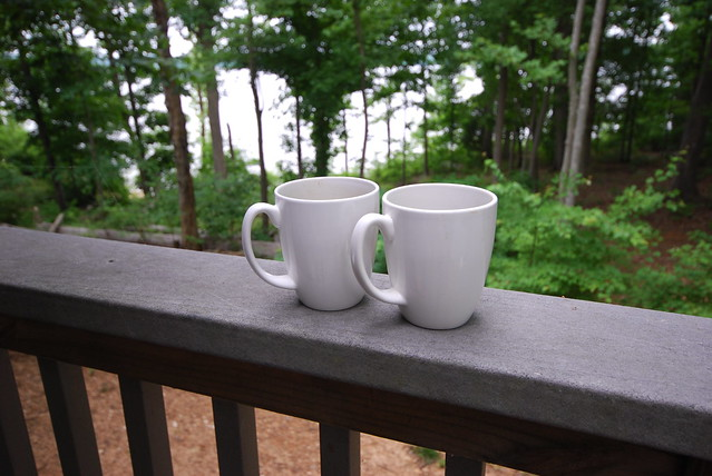 Coffee for two on the porch at cabin 11
