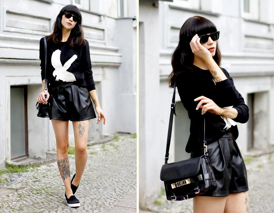 black and white summer eagle sweatshirt sojeans leather shorts velvet slippers asos zara proenza schouler ps11 fashionblogger outfit ootd rayban CATTS & DOGS berlin Ricarda Schernus 6
