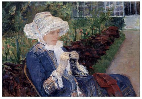 011- Lydia Crocheting en el Jardin de Marly-1880- Pintura al oleo- Mary Cassatt