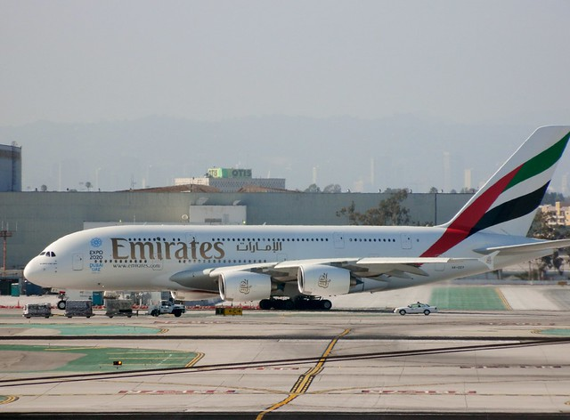 Emirates A6-EET special livery Airbus A380 arrives from Dubai Intl (DXB) @ Los Angeles Intl (LAX) on June 21, 2014.