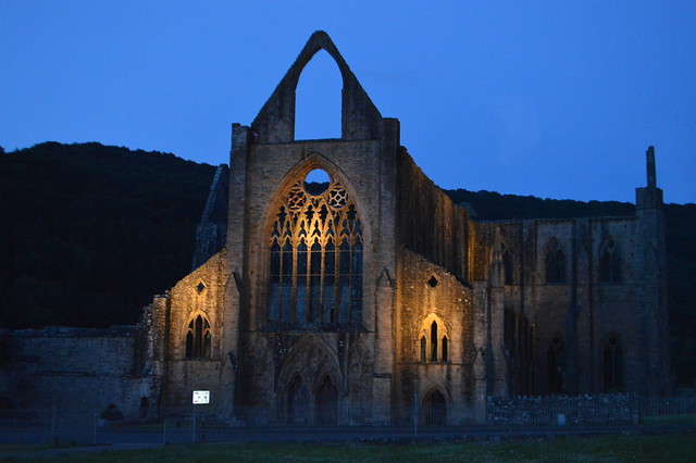 this is a picture of Tintern Abbey at night