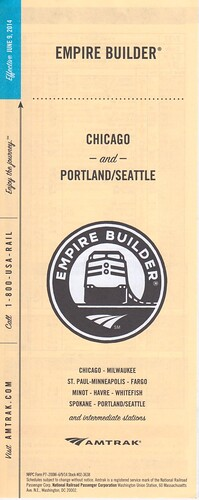 Amtrak Empire Builder 2014 Cover