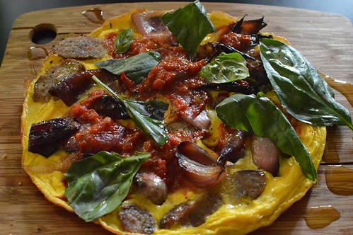 Henley's Wholefoods: Open omelette with lamb sausage