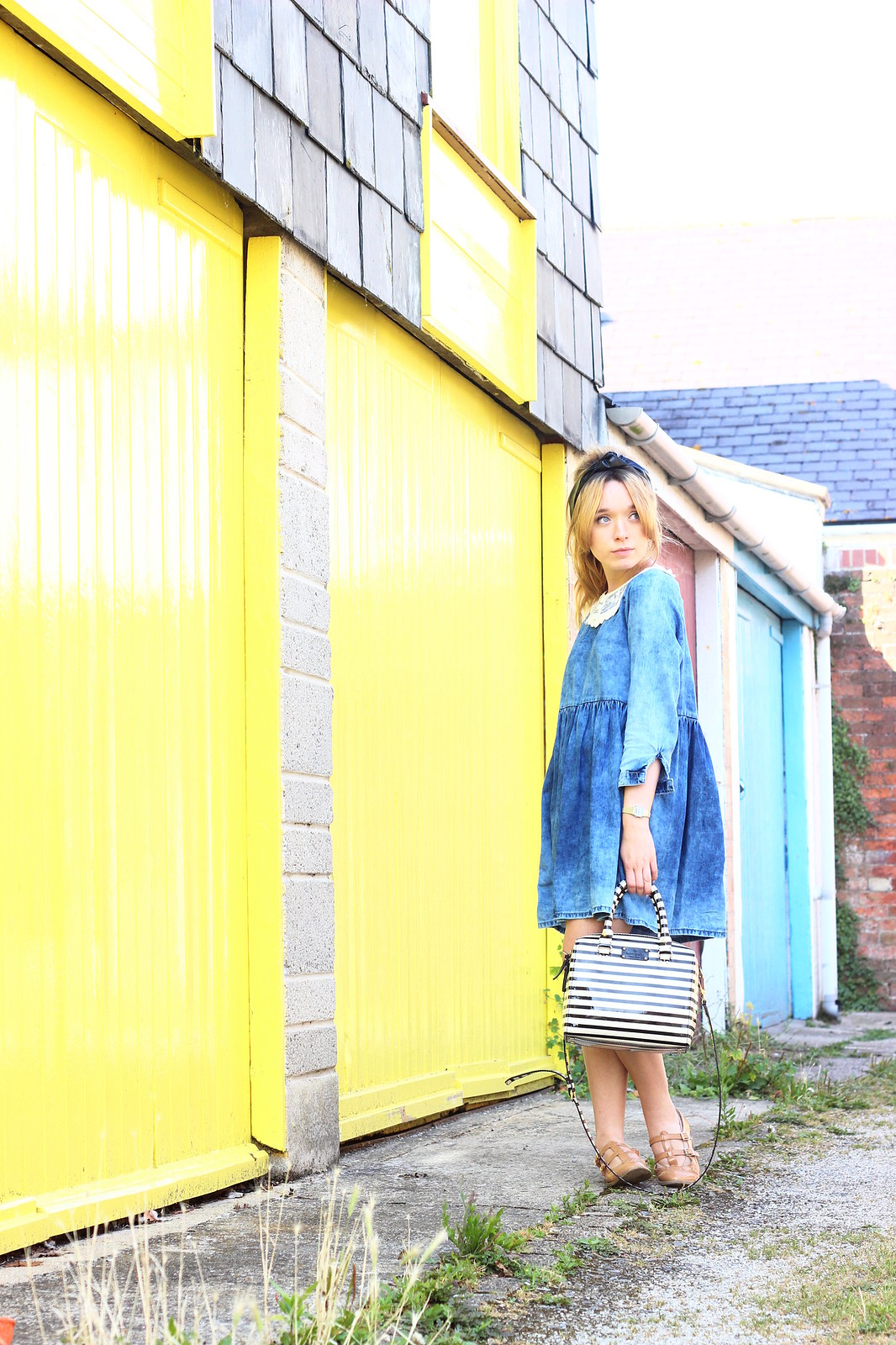 1denim, smock dress, lace collar , diy, vintage style