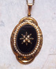 Vintage Art Deco brass and onyx pendant