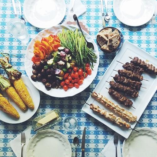 ?? summer + mom + grill = dinner