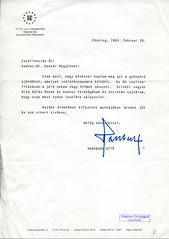 106. Habsburg Ottó köszönőlevele Hunkár Dénes ausztriai magyar nagykövetnek