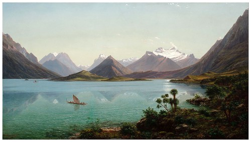 014-Lago Wakatipu con el Monte Earnslaw, Middle Island, Nueva Zelanda-Eugen von Guerard - Google Art Project