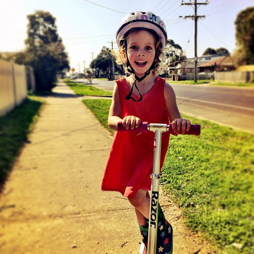 365/236 • DB - she is a whizz on her scooter, but as I walk along behind her she always looks SO small... tiny legs in starry gumboots, big helmet... • #2014_ig_236 #thelastdaysofthree #3yo #saturdayafternoon #scooter