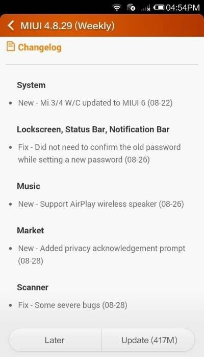 MIUI 6 для Xiaomi Mi 3 и Mi 4