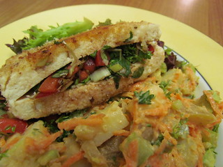 Tofu Stuffed with Watercress and Tomatoes; Three-Alarm Potato Salad