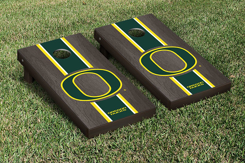Oregon Ducks Cornhole Game Set Onyx Stained Stripe Version