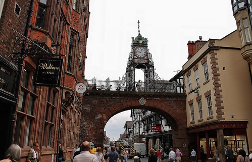 england clock europe cheshire chester streetview eastgate citywall