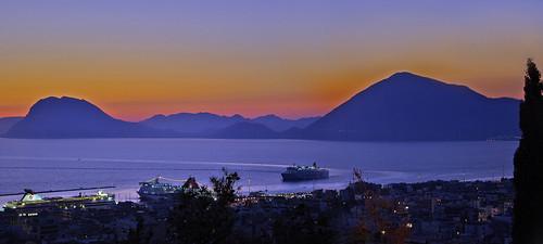 blue sea orange evening twilight harbour ships greece clearsky patras palecolors