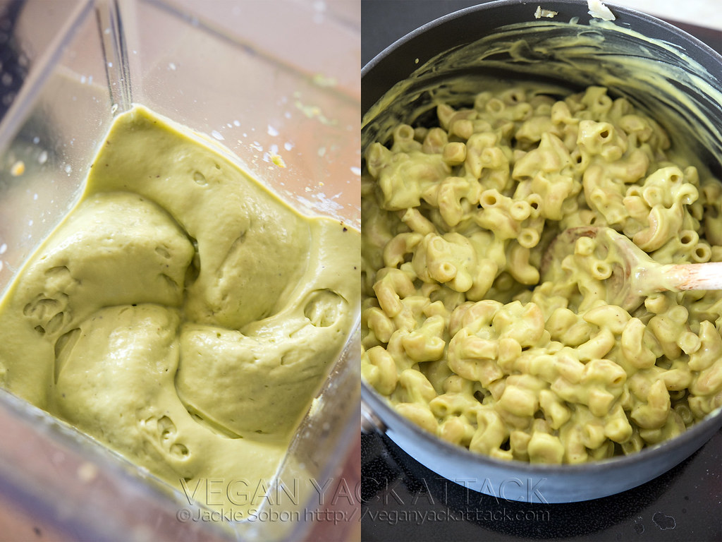 "Image collage of avocado ""cheese"" sauce in a blender, and it being mixed into cooked pasta"