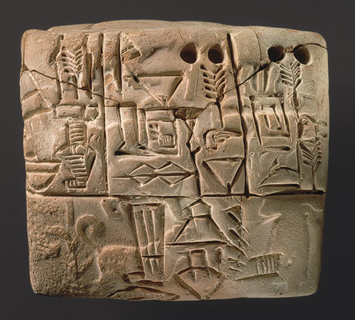 Tablet with impression of a male figure, hunting dogs, and boars
