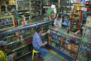 Corner store drinking with the locals.  San Gil, Colombia.