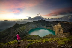 Dawn breaks over Kelimutu's three volcanic lakes