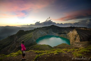 Dawn breaks over Kelimutu's three volcanic lakes