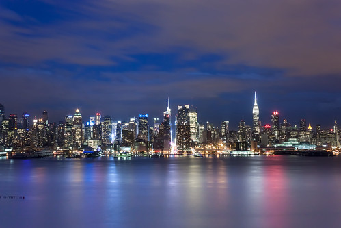 nyc newyorkcity longexposure nightphotography blue red sky orange newyork color water colors skyline architecture night clouds canon buildings lights newjersey twilight colorful skyscrapers pastel twinkle midtown nightlight lavander hudsonriver empirestatebuilding hudson tall westside unioncity chryslerbuilding 42ndstreet tallest