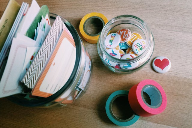 workspace wednesday: repurposed jars for tiny embellishments