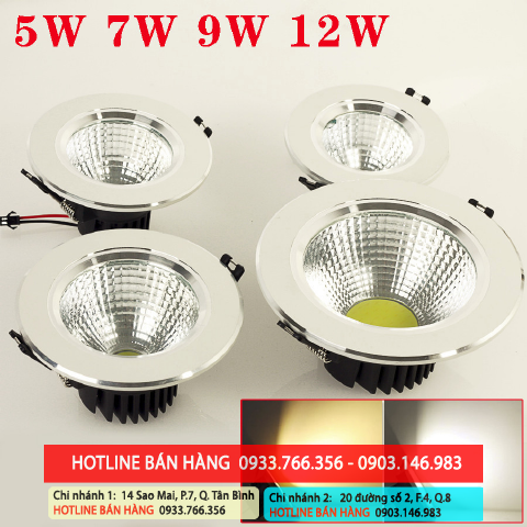 đèn led downlight 3W, 5W, 9W, 7W, 12W giá rẻ nhất 2013