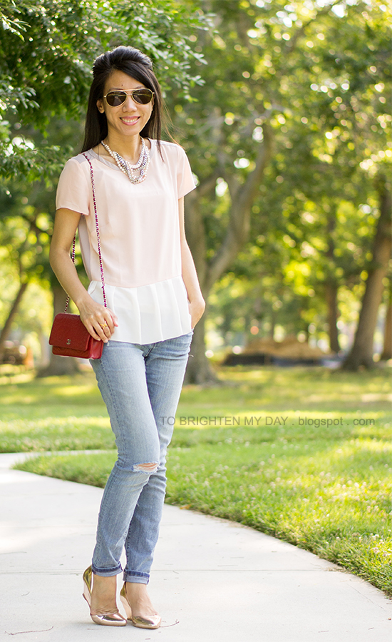 colorblock peplum top, light wash jeans, metallic rose gold wedges
