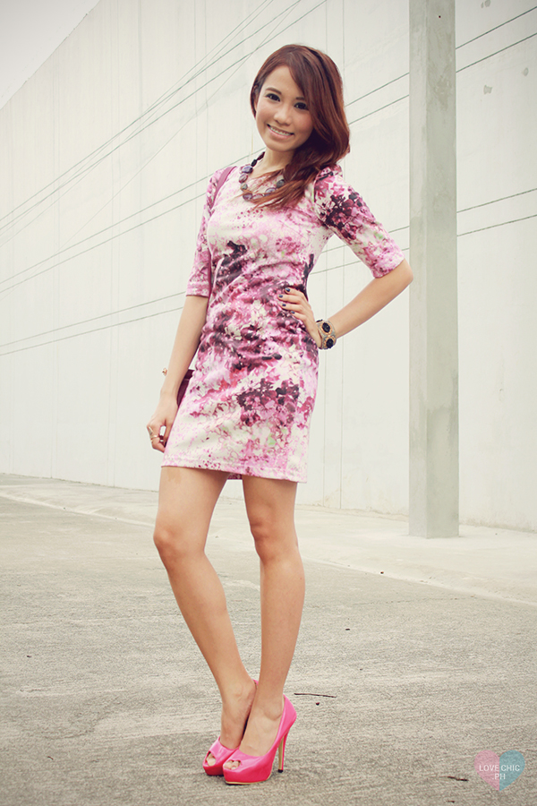 shai lagarde shailagarde love chic lovechic purple floral pink dress paint splatter corporate workwear pink peeptoe heels street style ootd fashion blogger philippines asian redhead contact lenses sm accessories disclosure concert tickets contest 9
