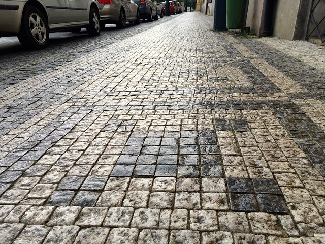 Cobblestones in the rain