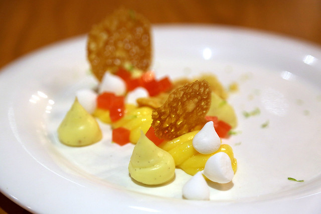 Tarte Au Citron - sable breton lemon curd, vanilla mousseline, lemon gelee, marshmallow and citrus tuille