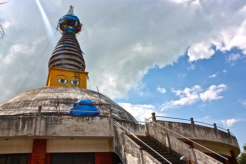 A Ray of light cast across the Nepali Buddhist temple